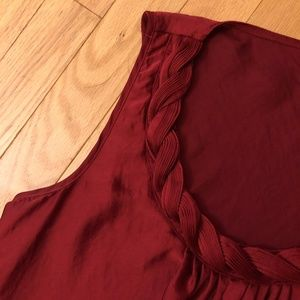 Spense Deep Red Top with Braided Neckline